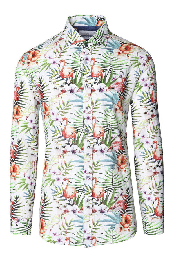 The Brando Cotton Linen Shirt - Flamingo