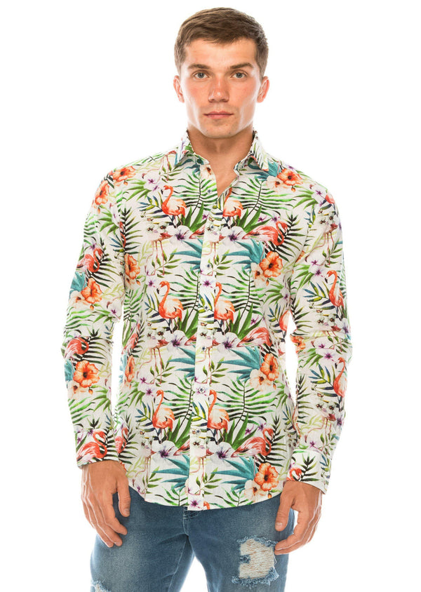 The Brando Cotton Linen Shirt - Flamingo - Ron Tomson