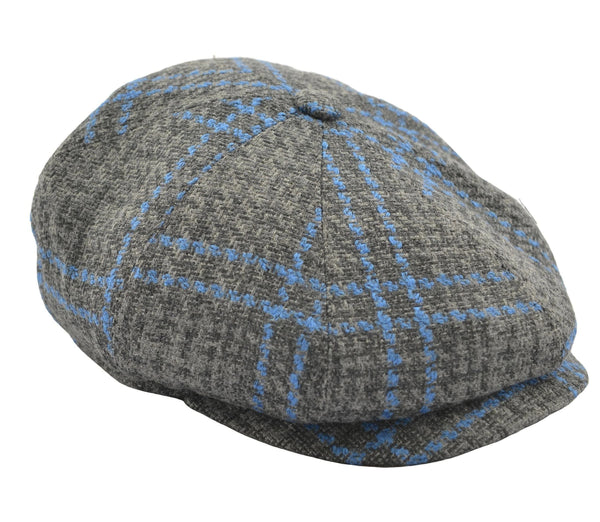 Thomas Newsboy Flat Cap - Grey Windowpane - Ron Tomson