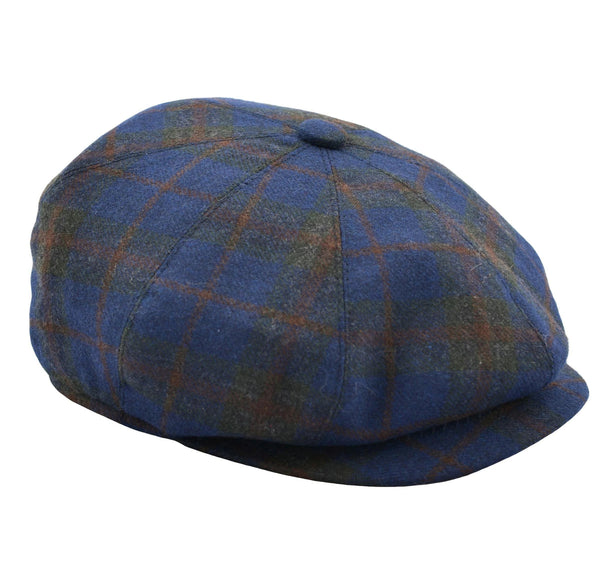Thomas Newsboy Flat Cap - Navy Windowpane - Ron Tomson
