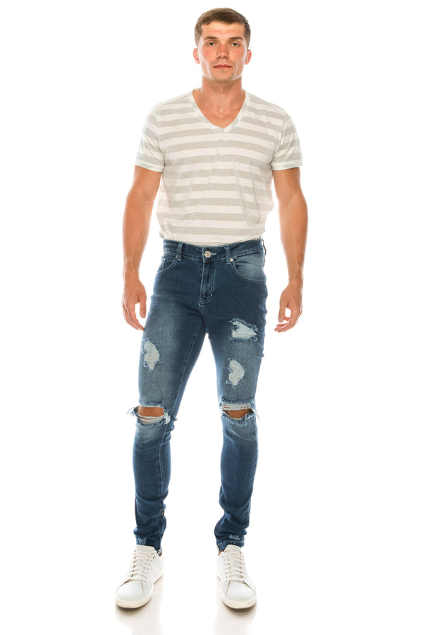 THRASHED BLUE SKINNY FIT JEANS - Ron Tomson