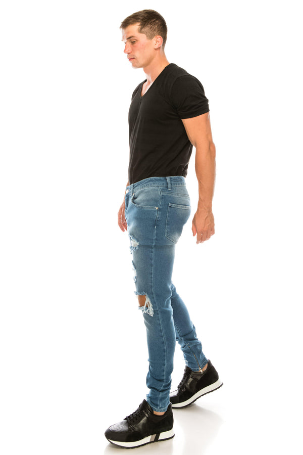 THRASHED LIGHT BLUE SKINNY FIT JEANS - Ron Tomson