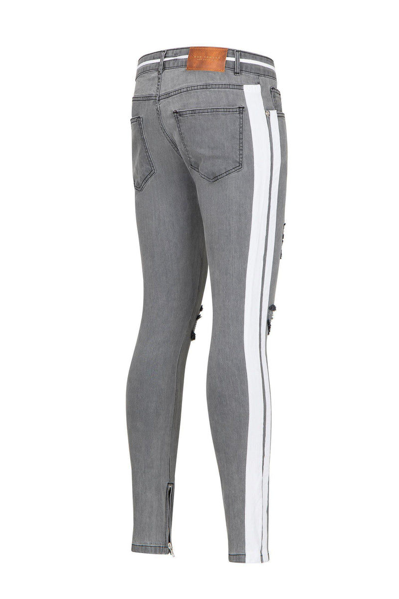 THRASHED LIGHT GREY SIDE STRIPED SKINNY FIT JEANS - Ron Tomson