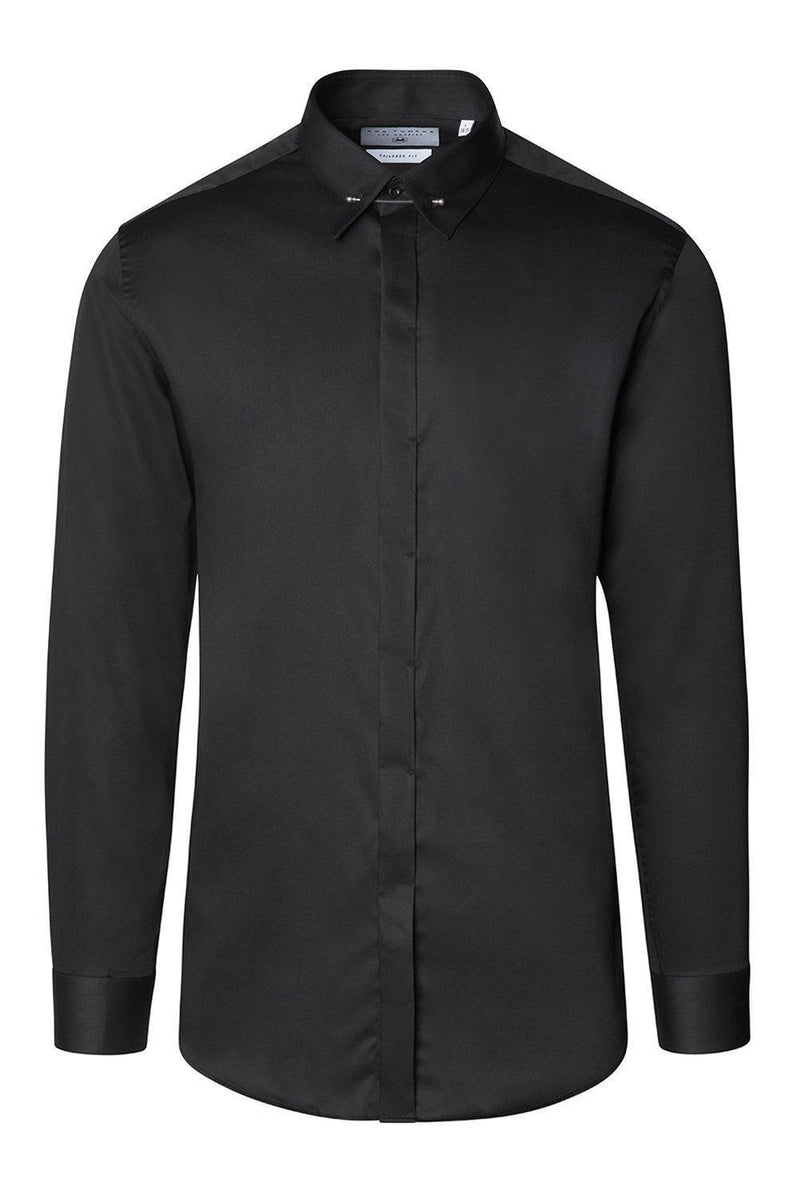 Tie-bar Hidden Placket Shirt - BLACK - Ron Tomson