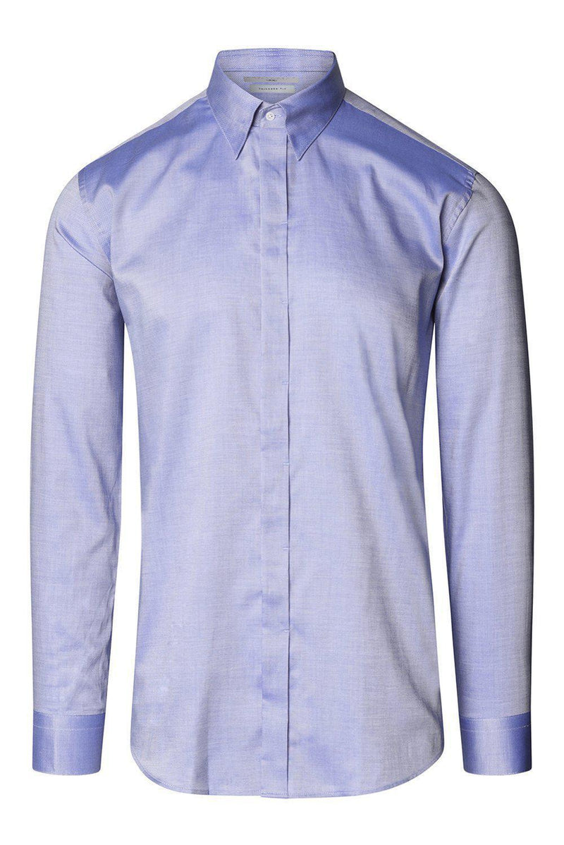 Tie-bar Hidden Placket Shirt- Blue