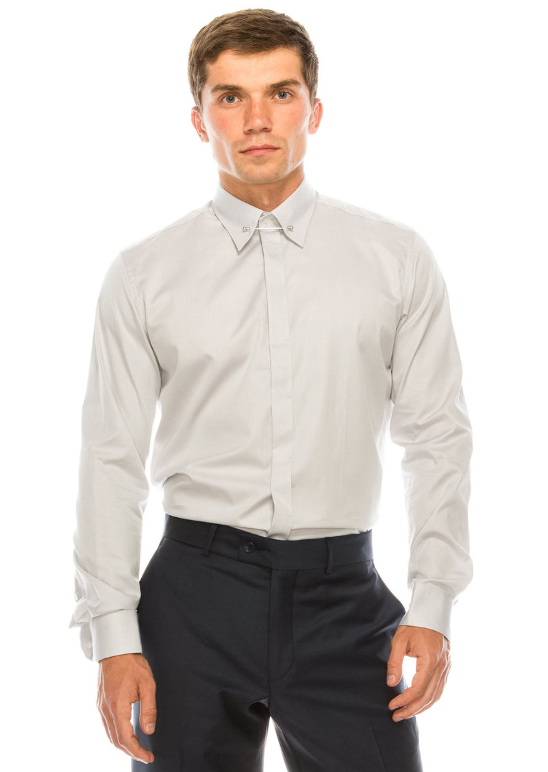 Tie-bar Hidden Placket Shirt - Grey - Ron Tomson