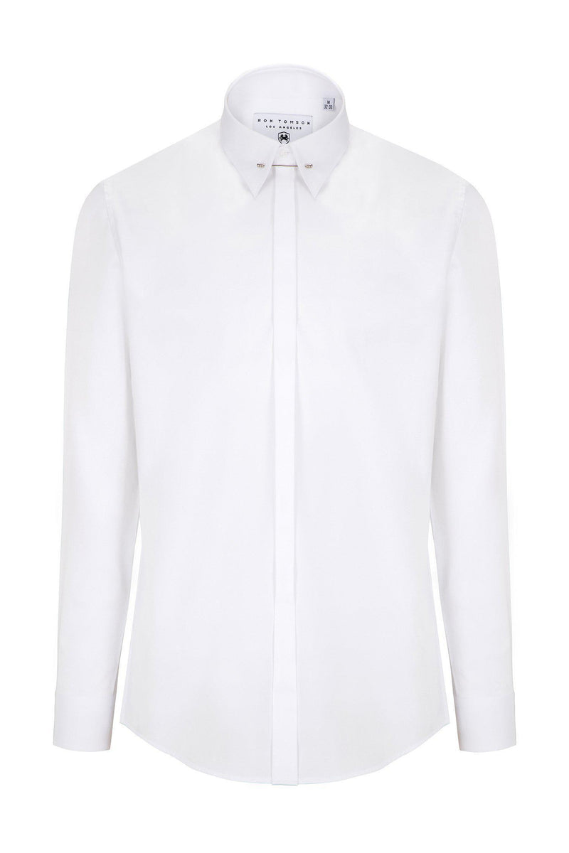 Tie-bar Hidden Placket Shirt - WHITE - Ron Tomson