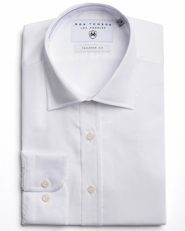 Tonal Accents Dress Shirt - White - Ron Tomson