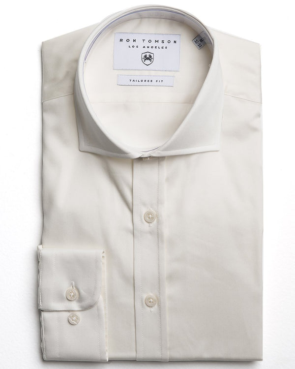Spread Collar Dress Shirt - More Colors-Shirts-Ron Tomson-BEIGE-A-S-Ron Tomson