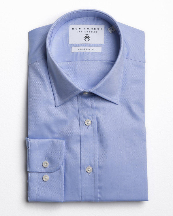 Tonal Accents Spread Dress Shirt - LIGHT BLUE - Ron Tomson