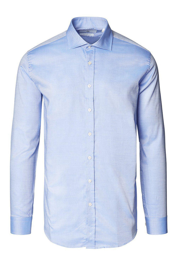 Tonal Accents Spread Dress Shirt - Neo Blue - Ron Tomson