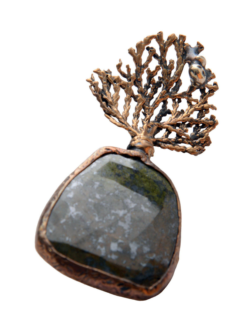 Tree and Stone Pendant Brooch