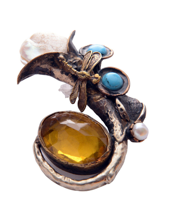 Tulip and Stones Pendant Brooch - Ron Tomson