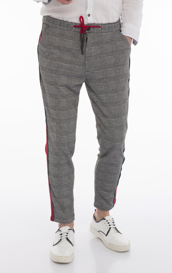 Tuxedo Stripe Fitted Track Pants - Black Green