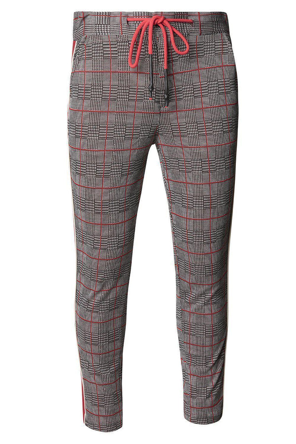 Tuxedo Stripe Fitted Track Pants - Grey