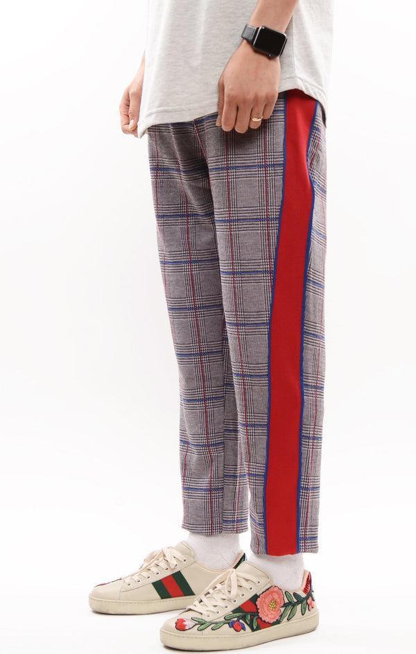 Tuxedo Stripe Fitted Track Pants - Sax
