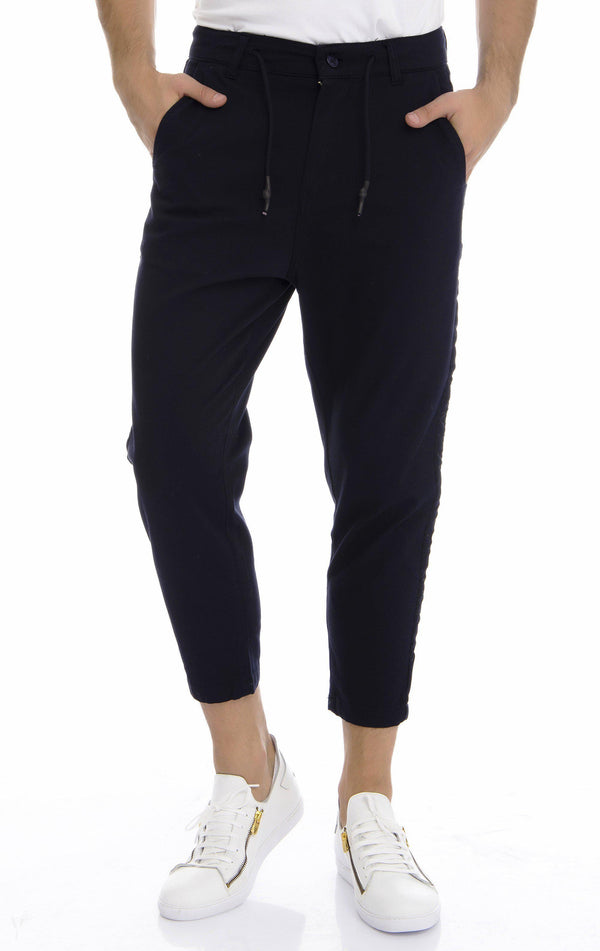 Tuxedo Striped Solid Track Pants - Navy - Ron Tomson