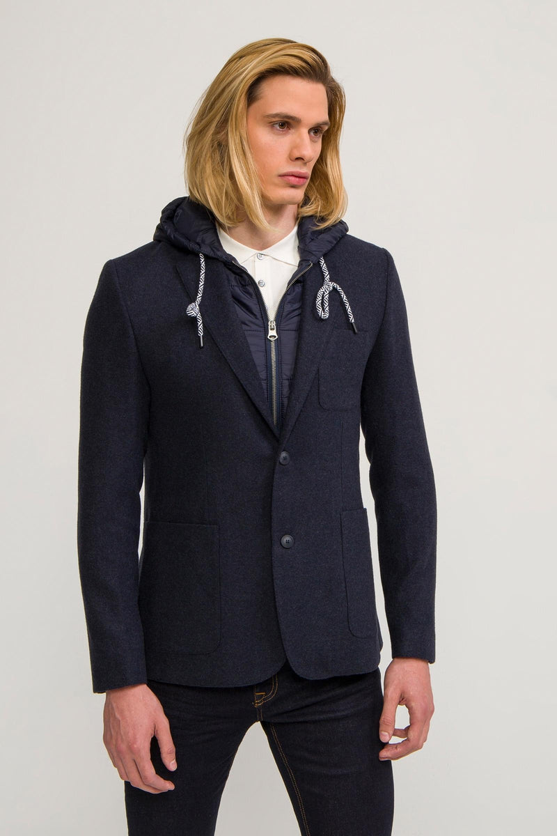 Two Button Casual Blazer with Removable Lining - Navy