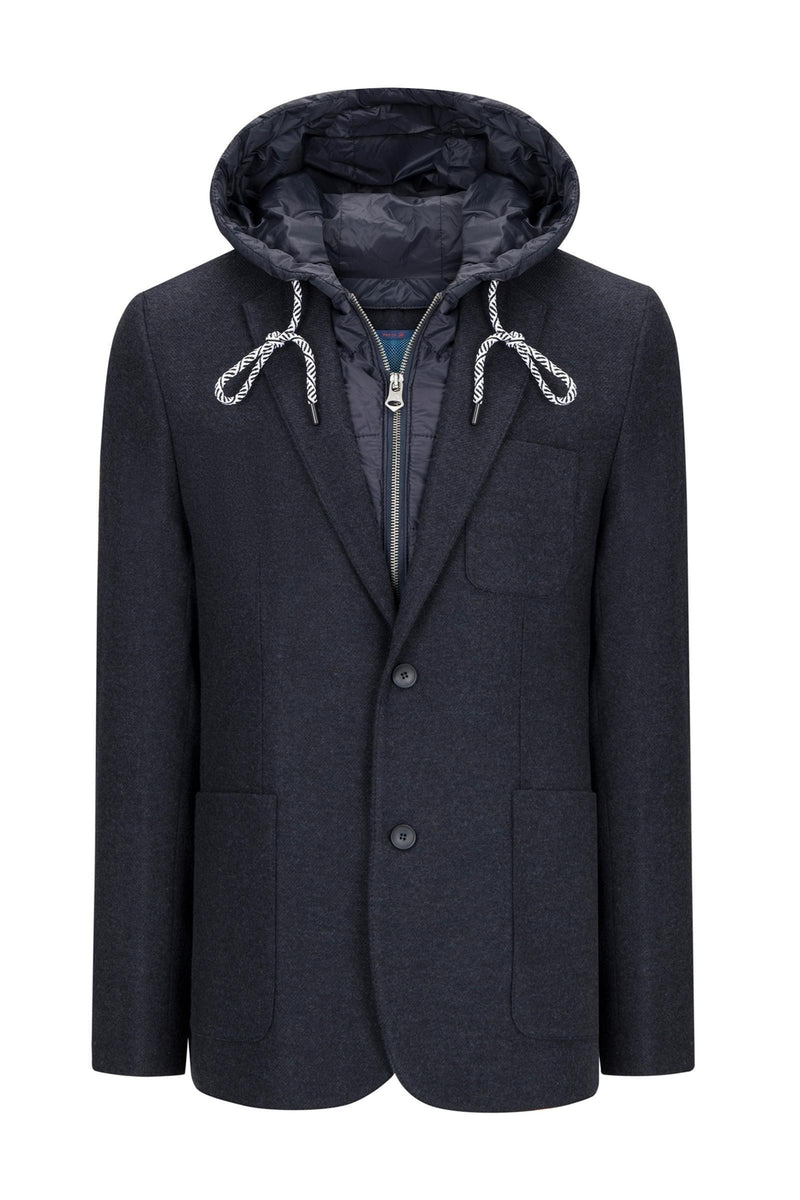 Two Button Casual Blazer with Removable Lining - Navy - Ron Tomson