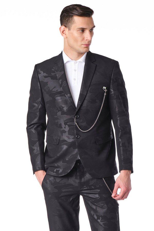 Two Button Monochromatic Blazer - Black Camo - Ron Tomson