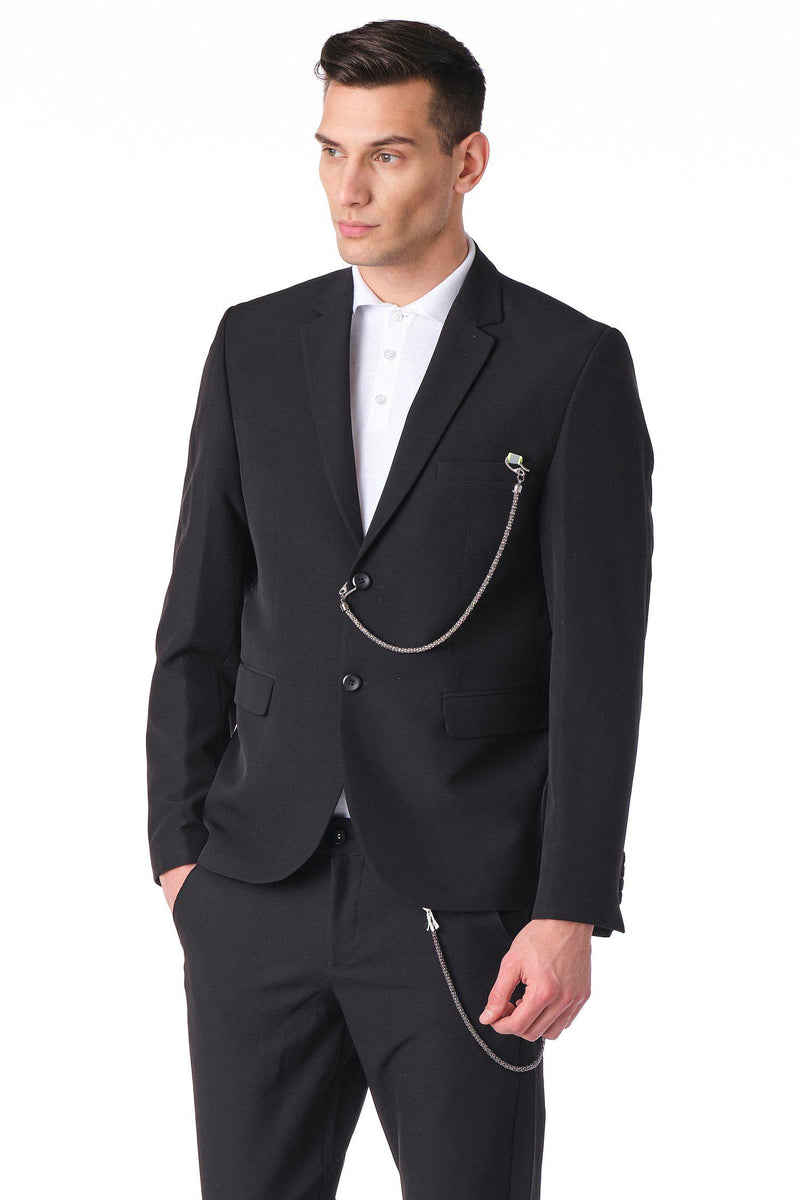 Two Button Monochromatic Blazer - Black