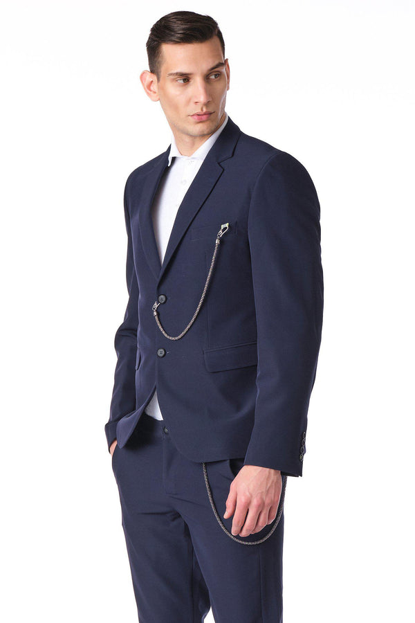 Two Button Monochromatic Blazer - Navy - Ron Tomson