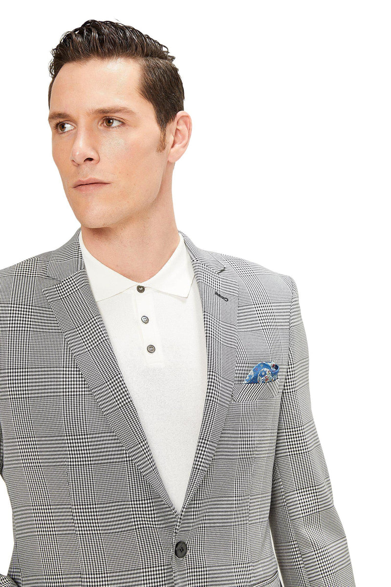 Two Button Slim Fit Blazer - Black 1 - Ron Tomson