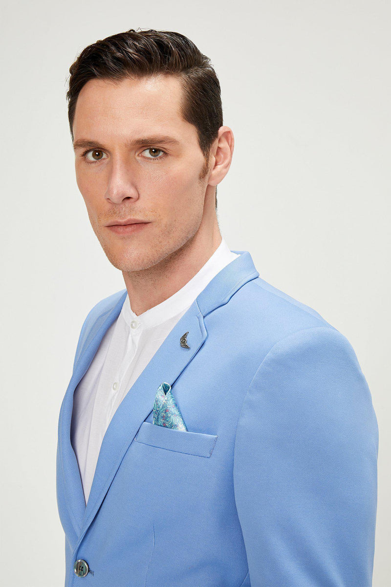 Two Button Slim Fit Blazer - Blue