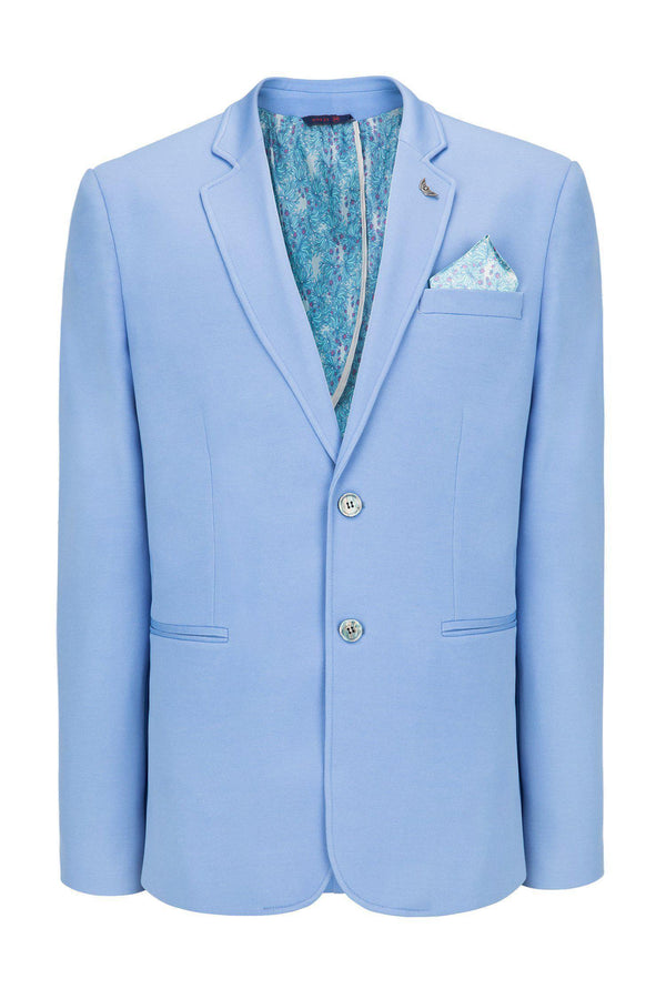 Two Button Slim Fit Blazer - Blue - Ron Tomson