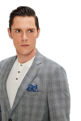 Two Button Slim Fit Blazer - Dark Grey - Ron Tomson