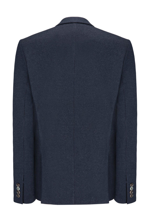 Two Button Slim Fit Blazer - Dark Navy - Ron Tomson