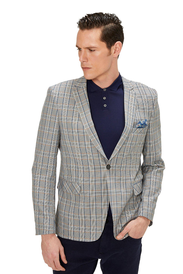 Two Button Slim Fit Blazer - Grey Mustard - Ron Tomson