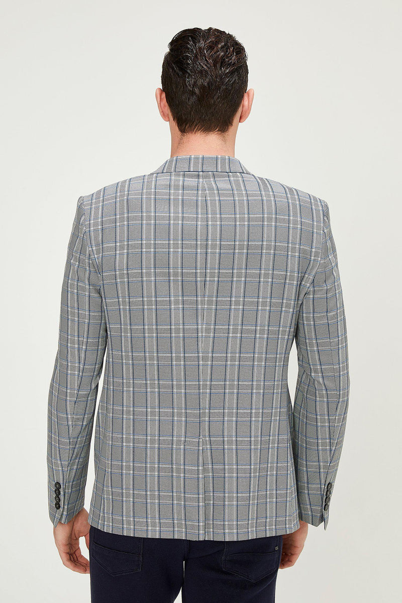 Two Button Slim Fit Blazer - Grey Sax