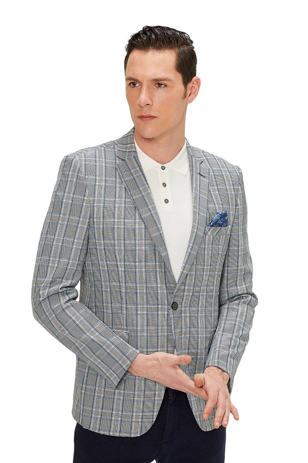 Two Button Slim Fit Blazer - Grey Sax - Ron Tomson