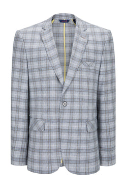 Two Button Slim Fit Blazer - Grey White