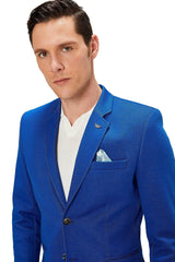 Two Button Slim Fit Blazer - Navy 1 - Ron Tomson