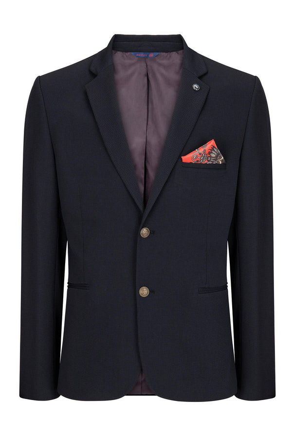 Two Button Slim Fit Blazer - Navy - Ron Tomson