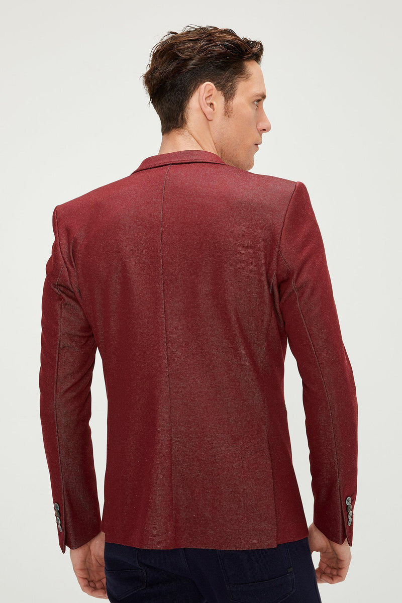Two Button Slim Fit Blazer - Wine