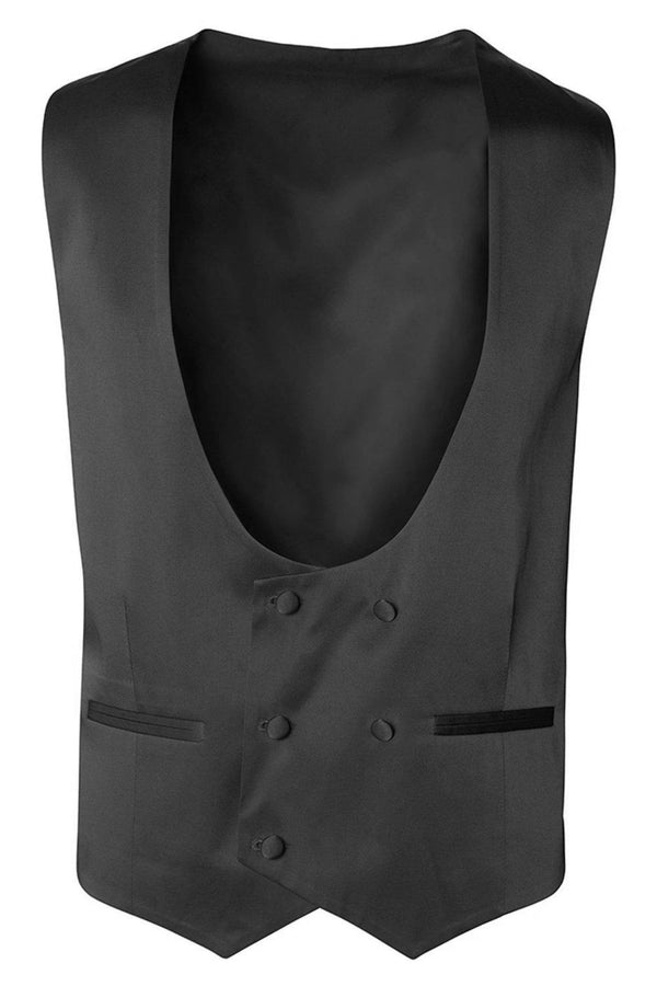 U SHAPED DOUBLE BREASTED VEST - BLACK