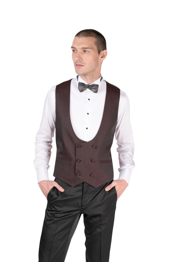 U SHAPED DOUBLE BREASTED VEST - BURGUNDY - Ron Tomson