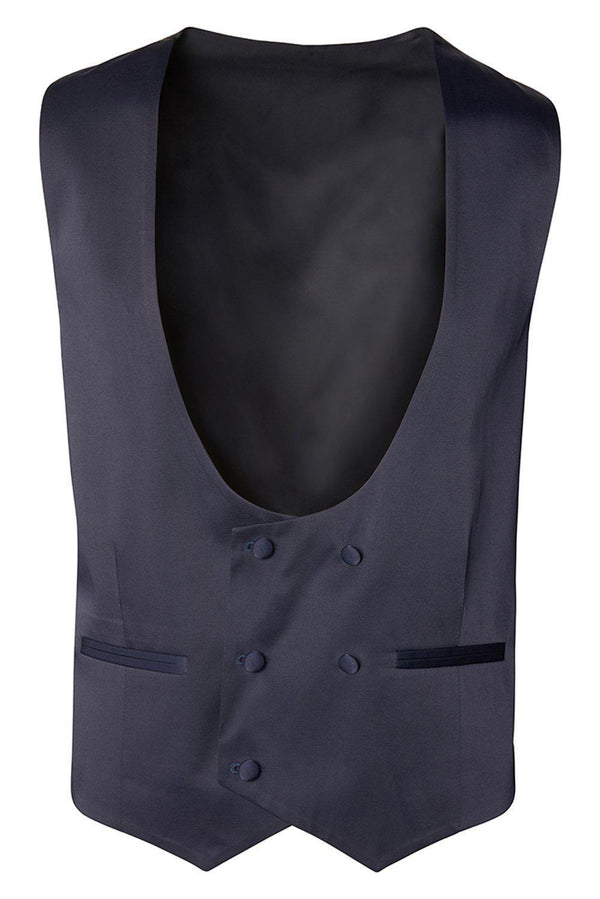 U SHAPED DOUBLE BREASTED VEST - NAVY