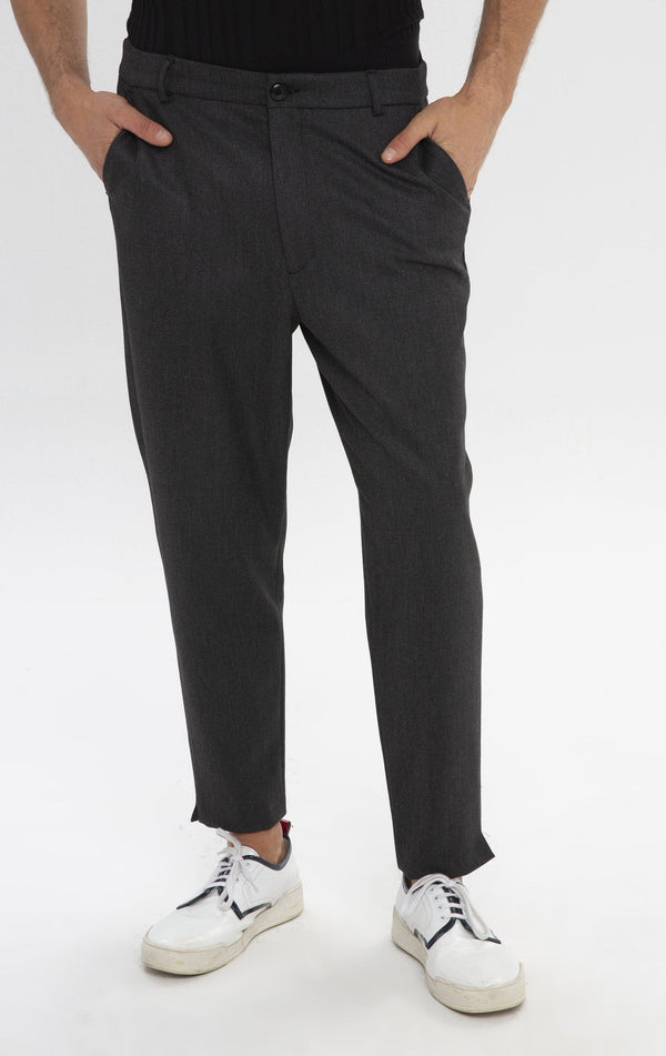Un-cuffed Chain Fitted Pants - Black - Ron Tomson