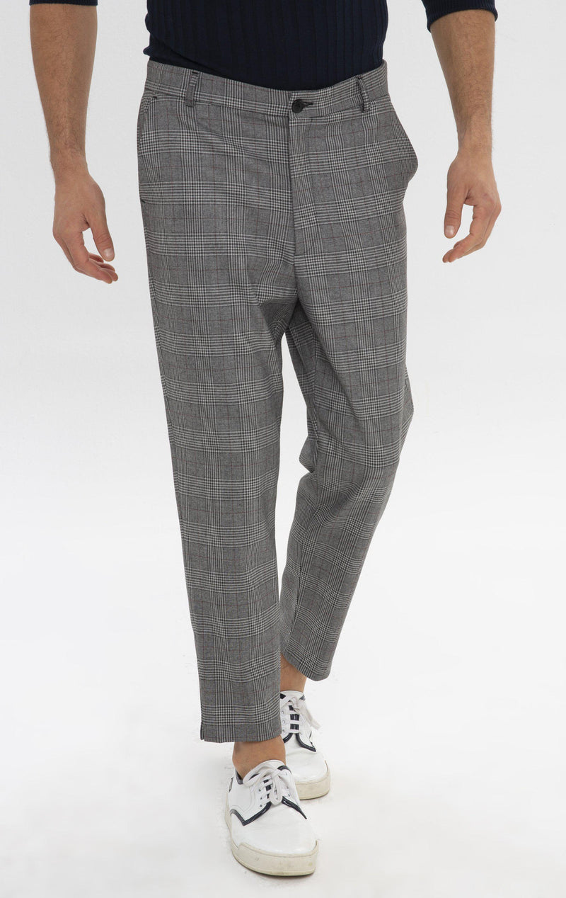 Un-cuffed Chain Fitted Pants - Grey Bordeaux - Ron Tomson
