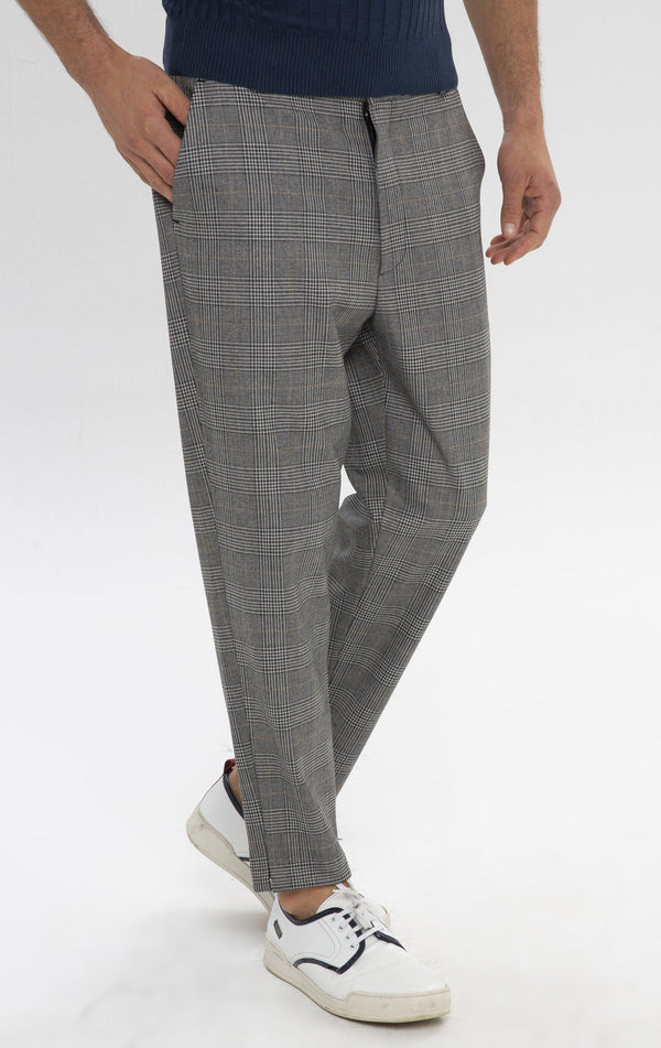 Un-cuffed Chain Fitted Pants - Grey Mustard - Ron Tomson