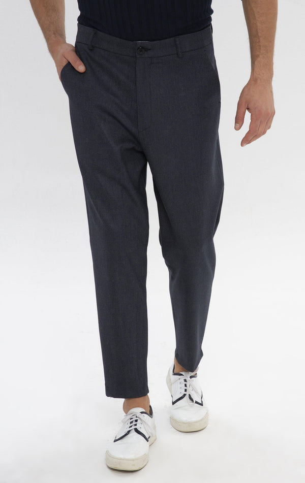 Un-cuffed Chain Fitted Pants  - Navy