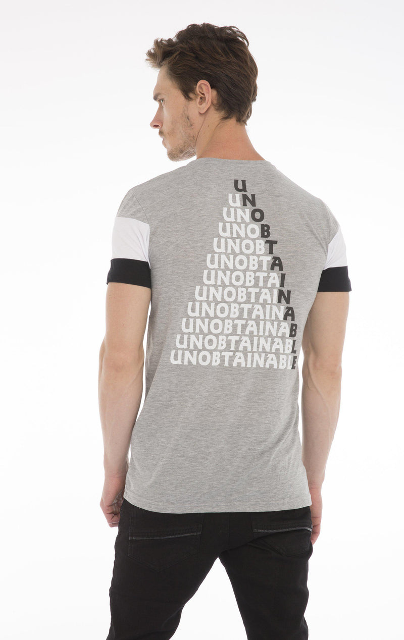 UNOBTAINABLE T-SHIRT - GREY MELANGE WHITE