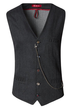 Vest With Chain - Black