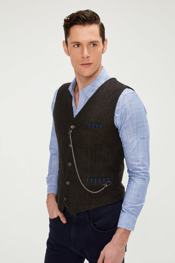 Vest With Chain - Brown