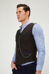 Vest With Chain - Brown - Ron Tomson