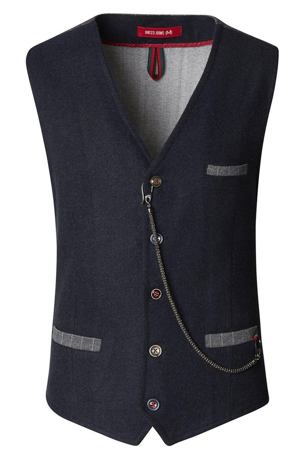 Vest With Chain - Navy